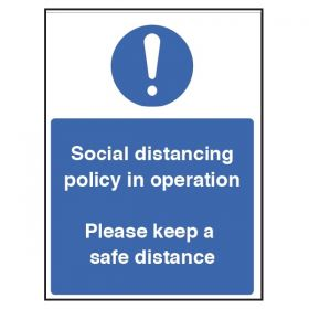 Social Distancing Policy In Operation Sign - Rigid Plastic - 18259H