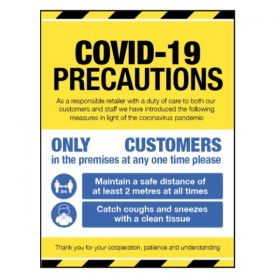 Covid-19 Precautions Sign For Businesses Open To The Public - Self Adhesive Vinyl - 28423K