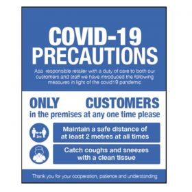 Covid-19 Precautions Sign For Businesses Open To The Public - Self Adhesive Vinyl - 28424K