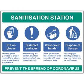 Coronavirus Sanitisation Station Sign - Rigic Plastic - 18447Q