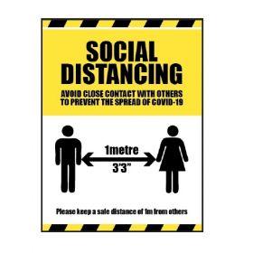 1 Metre Social Distancing Sign For Coronavirus Covid-19 - 18562K/1M