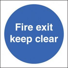 Fire Exit Keep Clear Sign - Self-Adhesive Vinyl - 100 x 100mm - 21606U