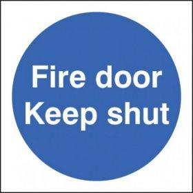 Fire Door Keep Shut Sign - Self-Adhesive Vinyl - 80 x 80mm - 21610B