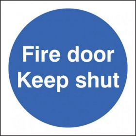 Double Sided Fire Door Keep Shut Sign - Self-Adhesive - 100 x 100mm - 59247
