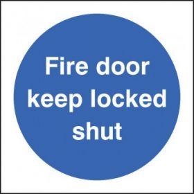 Fire Door Keep Locked Shut Sign - Self-Adhesive Vinyl - 100 x 100mm - 21621U