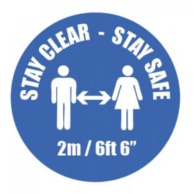 Coronavirus Stay Clear Stay Safe Social Distancing Sticker - 28434F