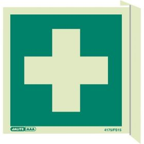 Jalite 4175/FS15 Wall Mounted Double Sided First Aid Sign - Photoluminescent