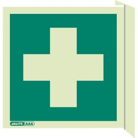 Jalite 4175/FS20 Wall Mounted Double Sided First Aid Sign - Photoluminescent