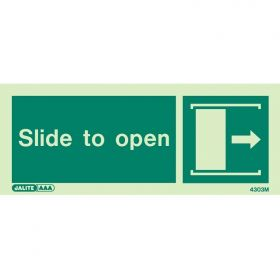 Jalite 4303M Photoluminescent Slide To Open Sign - Right Arrow - 80 x 200mm