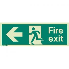 Jalite 430T Left Hand Fire Exit Sign - Photoluminescent - 120 x 340mm
