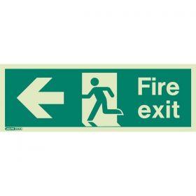 Jalite 430J Left Hand Fire Exit Sign - Photoluminescent - 200 x 450mm