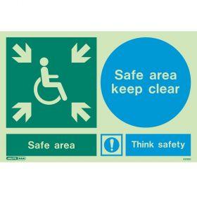 Jalite 4313DD Photoluminescent Safe Area Keep Clear Sign