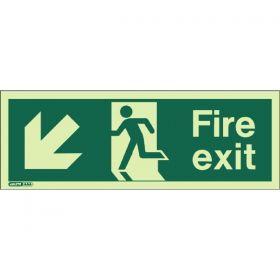 Jalite 433X Down Left Arrow Photoluminescent Fire Exit Sign (250 x 600mm)