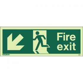 Jalite 433T Down Left Arrow Fire Exit Sign - Photoluminescent - 120 x 340mm