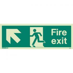 Jalite 434T Up Left Arrow Fire Exit Sign - Photoluminescent - 120 x 340mm