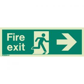 Jalite 435X Right Hand Photoluminescent Fire Exit Sign (250 x 600mm)
