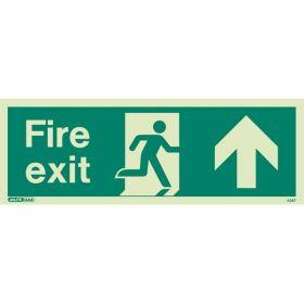Jalite 436T Up Arrow Fire Exit Sign - Photoluminescent - 120 x 340mm