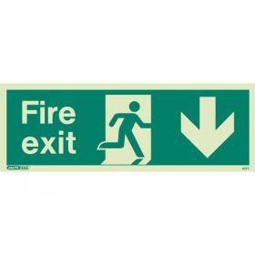 Jalite 437T Down Arrow Fire Exit Sign - Photoluminescent - 120 x 340mm