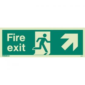 Jalite 438T Up Right Arrow Fire Exit Sign - Photoluminescent - 120 x 340m