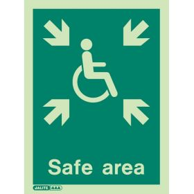 Jalite 4650D Safe Area Location Sign - Photoluminescent - 200 x 150mm
