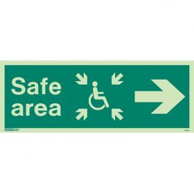 Jalite 4652K Photoluminescent Safe Area Sign For The Mobility Impaired - Right Arrow