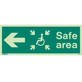 Jalite 4653K Photoluminescent Safe Area Sign For The Mobility Impaired - Left Arrow