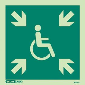 Jalite 4654C Photoluminescent Safe Area Sign For The Mobility Impaired