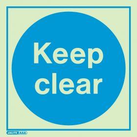 Jalite 5110E Keep Clear Photoluminescent Sign - 200 x 200mm