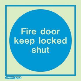 Jalite 5140A Fire Door Keep Locked Shut Photoluminescent Sign - 100 x 100mm