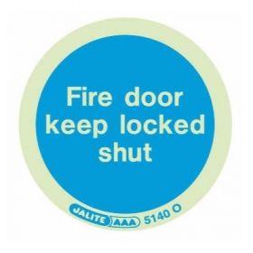 Jalite 5140O Photoluminescent Fire Door Keep Locked Shut Adhesive Disc - 80mm Diameter - Pack of 10