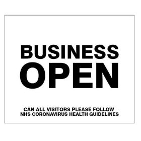 Business Open Please Follow NHS Guidelines Sign - Self Adhesive Vinyl - 25165H