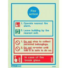 Jalite 5403D Fire Action Sign