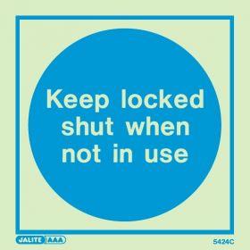 Jalite 5424C Fire Door Keep Locked Shut When Not In Use Photoluminescent Sign - 150 x 150mm
