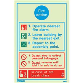 5425D Jalite Rigid PVC Photoluminescent Fire Action Sign 200 x 150mm