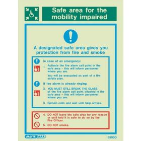 Jalite 5500D Safe Area Fire Action Sign - Photoluminescent - 200 x 150mm (Self-Adhesive Vinyl Version)