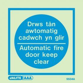 Jalite Drws Tan Awtomatig Cadwch Yn Glir Automatic Fire Door Keep Clear Sign - 5534A