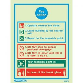 Jalite Fire Action Sign 5537D (Rigid PVC Material)