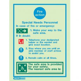 Jalite 5540D Fire Action Sign For Special Needs Personnel