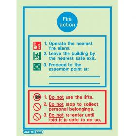 Jalite 5553D Fire Action Sign