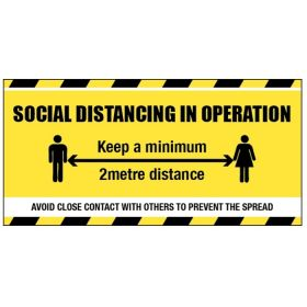 Social Distancing In Operation Banner - PVC With Mounting Eyelets - 58429
