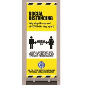Covid-19 Social Distancing Guidance Portable Roller Banner Sign - 58437