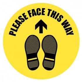 Coronavirus Social Distancing Please Face This Way Floor Graphic 400mm Diameter - 58465
