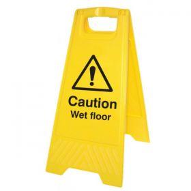 Caution Wet Floor Standing Warning Sign - Yellow - 58515