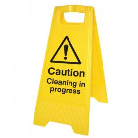 Caution Cleaning In Progress Standing Warning Sign - Yellow - 58516