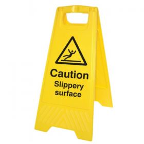 Caution Slippery Surface Standing Warning Sign - Yellow - 58517