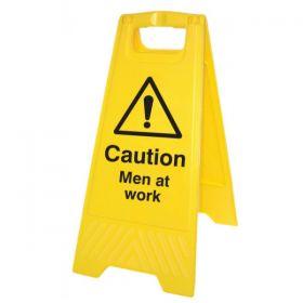 Caution Men Working Overhead Standing Warning Sign - Yellow - 58518