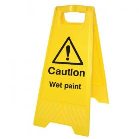 Caution Wet Paint Standing Warning Sign - Yellow - 58544