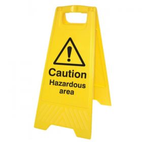 Caution Hazardous Area Standing Warning Sign - Yellow - 58545