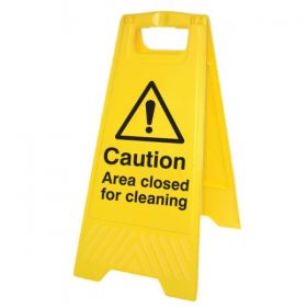 Caution Area Closed For Cleaning Standing Warning Sign - Yellow - 58546