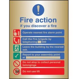 Brass Fire Action Sign - 59539